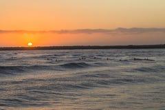 Surf-ski Paddlers Ocean Sunrise. Surf-ski paddlers at sunrise training on ocean waves waters around shallow reefs Stock Image