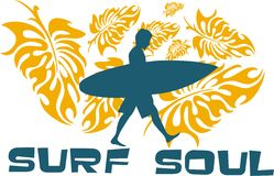 Surf soul. Between the leaves of tropical plants to the beach to surf human silhouette walking stock illustration
