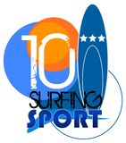 Surf sport. Surfing club logo or surfing  illustration Royalty Free Stock Photography