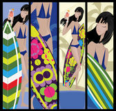 Surf summer banners Royalty Free Stock Images
