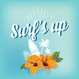 Surf summer icon, vector design label. Royalty Free Stock Photos