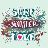 Surf summer love hand lettering Royalty Free Stock Images