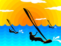 Surf sun. Illustration of the surfers at sunset stock illustration