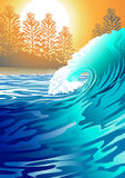 Surf at Sunrise. Vector illustration of a surfing wave at sunrise Stock Photo