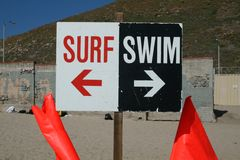 Surf/Swim Sign. Sign separating Surfing and Swimming on the Beach Stock Photo