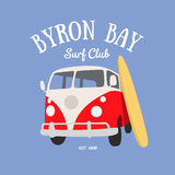 Surf t-shirt design. Retro van and surf board under the Byron Bay Surf Club sign Royalty Free Stock Photo
