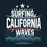 Surf t-shirt graphic design. Surfing grunge print stamp. California, Los Angeles surfers wear typography emblem. Vector Stock Images