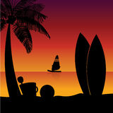Surf tables silhouette Royalty Free Stock Photos