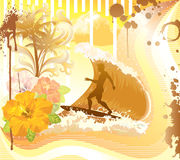 Surf time. Grunge summer illustration. Surfer in the wave, hibiscus, palms, grunge style royalty free illustration