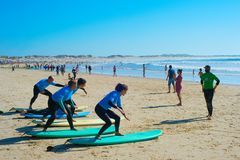 Surf training beach. Baleal, Portugal Stock Images