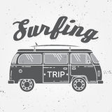 Surf trip concept Vector Summer surfing retro badge. Beach surfer emblem , rv outdoors banner, vintage background.  Stock Photos