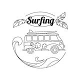 Surf trip outline background. Minimalistic linear Stock Photos