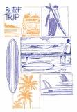 Surf trip. Surf way of life illustration Stock Photo