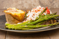 Surf and Turf with Dungeness Crab Royalty Free Stock Images