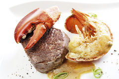 Surf and turf filet steak with seafood Stock Image