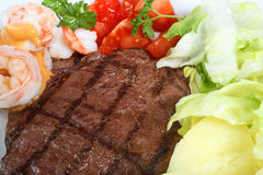 Surf and turf meal Royalty Free Stock Images