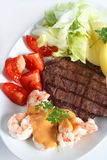 Surf and turf meal Stock Photography