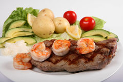 Surf and turf side-view stock photo