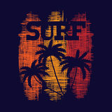 Surf typography poster. T-shirt fashion Design. Royalty Free Stock Photography
