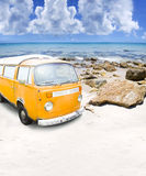 Surf Van. Surfing Beach Van Parked On A Beautiful Australian Beach Shore In A Outdoor Recreation And Active Surf Lifestyle Concept Stock Photos