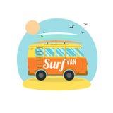 Surf Van on the Beach. Flat Design. Vector Stock Image