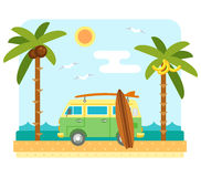 Surf van on beach Royalty Free Stock Images