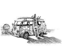 Surf van on the beach. Hand drawn Royalty Free Stock Photos