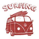 Surf Van Illustration, γραφική παράσταση μπλουζών, διανύσματα, τυπογραφία Στοκ εικόνες με δικαίωμα ελεύθερης χρήσης