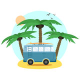 Surf Van and palm. Flat Design. Vector Stock Photography