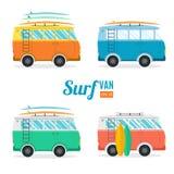 Surf Van Set Επίπεδο σχέδιο διάνυσμα Στοκ Φωτογραφία