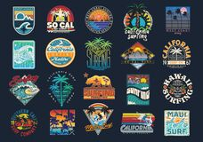 Free Surf Vector Patch Emblem Set. Royalty Free Stock Photos - 193762858