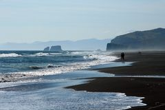 Surf. Very big beach. Pacific ocean, east coast of peninsula Kamchatcka Stock Image