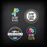 Surf vintage elements. Retro logo board. Vector with graphic. Stock Photos
