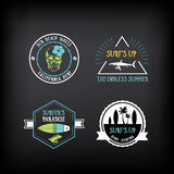 Surf vintage elements. Retro logo board. Vector with graphic. Stock Photos