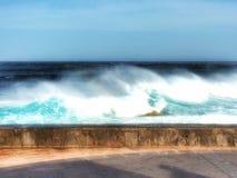 Surf on the volcano coast Stock Photo