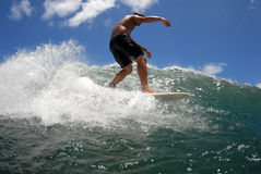 Surf waling the board. A longboarder walking on his board royalty free stock photo