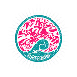 Surf wave emblem in retro style Stock Photos