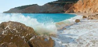 Surf wave on Porto Katsiki beach (Lefkada, Greece). Surf wave on beautiful summer white Porto Katsiki beach (Ionian Sea, Lefkada, Greece Royalty Free Stock Image