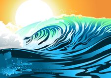 Surf wave at sunrise Royalty Free Stock Photos