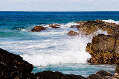 Surf waves on rocky coastline - Blueys Beach, New South Wales, A Stock Image