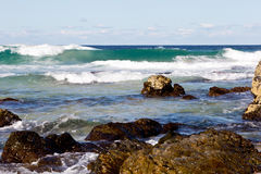 Surf waves on rocky coastline - Blueys Beach, New South Wales, A Royalty Free Stock Images