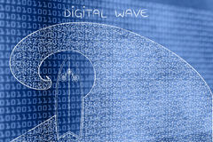 Surf the web digital wave with surfboard Stock Photos