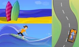Surfa baneruppsättningen, tecknad filmstil royaltyfri illustrationer