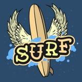 Surfa bränning Themed Longboard med vingar räcka den utdragna traditionella tatueringen för gammal skola den estetiska köttkroppe royaltyfri illustrationer