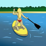 Surfa för flicka Royaltyfri Foto
