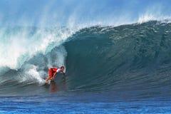 surfa för surfare för damien hawaii hobgoodpipeline Fotografering för Bildbyråer