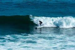 Surfa folk på stranden av Kalifornien royaltyfri bild
