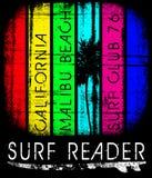 Surfa Kalifornien typografi, t-skjortan diagram, affischen, banret, fl vektor illustrationer