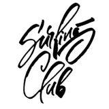 Surfa klubban Modern kalligrafihandbokstäver för serigrafitryck Arkivbild