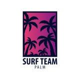 Surfa logo och emblem för bränning klubba eller shoppa också vektor för coreldrawillustration Arkivbild